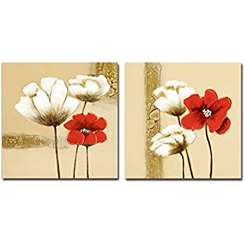 Amazon.com: Wieco Art Red and White Flowers Canvas Prints Wall Art ...