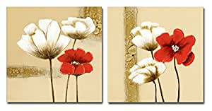 Wieco Art - Red and White Flowers Modern Stretched and Framed Giclee Canvas Prints 2 Piece Abstract Floral Oil Paintings Style Pictures on Canvas Wall Art for Living Room Bedroom Home Decorations