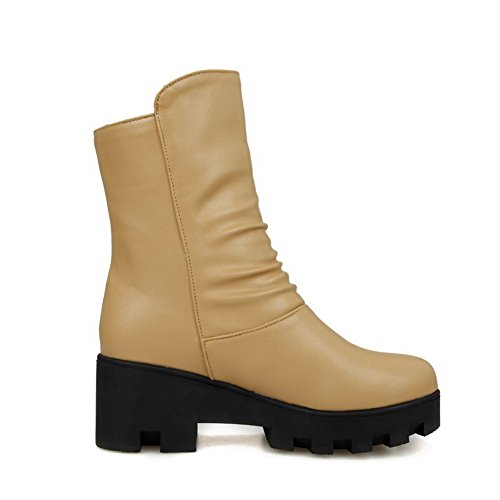 Women's Material Pull Solid Toe AgooLar Boots Round Apricot On Closed Soft Kitten Heels gxdwxq4FA