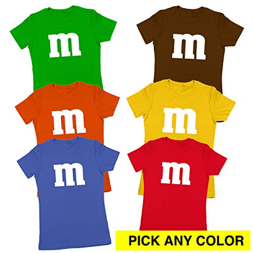 M Chocolate Candy Halloween Costume Outfit Funny Group Cool Party Womens Shirt Small Orange