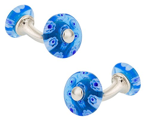 - Cuff-Daddy Blue Millipore Venetian Glass Double-Sided Cufflinks with Presentation Box