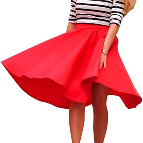 Suit Wool Red Skirt (Pocciol Everyone Love Skirt Women Cotton Blend Vintage Stretch Skater Flared High Waist Long Pleated Swing Skirt Dress (Red, S))