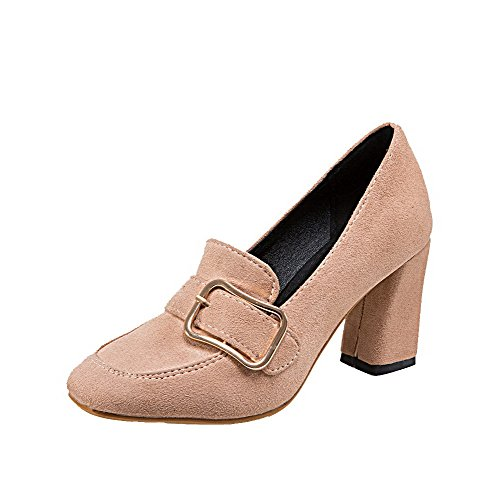 Heels Solid WeiPoot apricot Round Shoes on High Closed Frosted Women's Toe Pull Pumps O646Ax