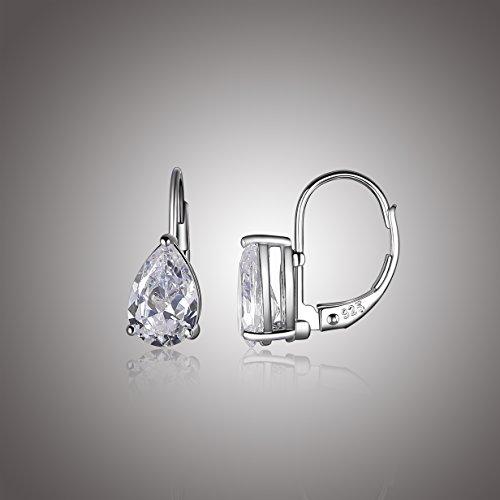 Platinum Plated Sterling Silver Teardrop Cubic Zirconia Earrings (4 cttw)