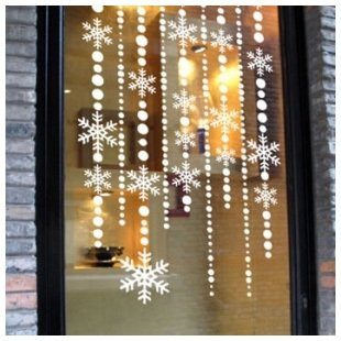 Christmas Snow Floor Glass Curtain Window Stickers Affixed Snowflake Decoration Door Wall