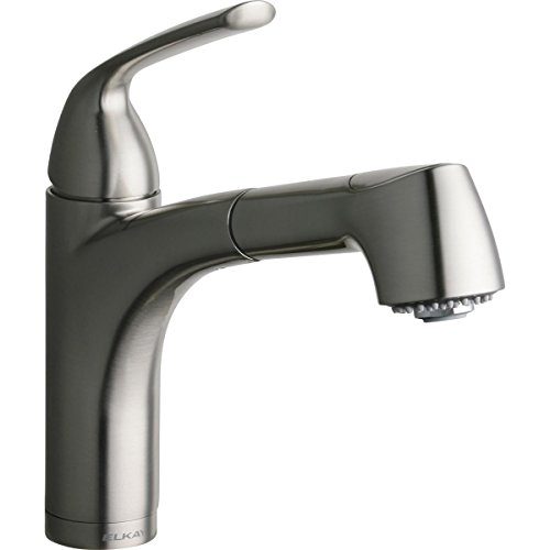 Elkay LKGT1042NK Gourmet Single Hole Bar Faucet with Pull-out Spray and Lever Handle, Brushed Nickel