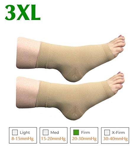 Ankle Toe Socks (HealthyNees Extra Wide Ankle Big Feet 20-30 mmHg Compression Swelling Foot Pain Circulation Plus Size Sock Open Toe Sleeve (Beige, Big Ankle 3XL))