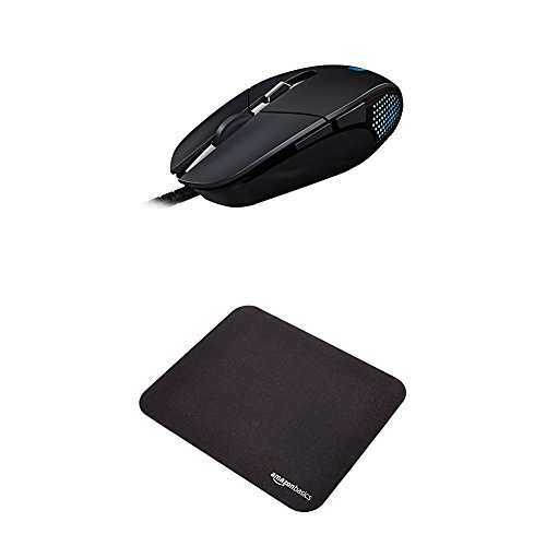 Logitech G302 Daedalus Prime MOBA Gaming Mouse and AmazonBasics Gaming Mouse Pad