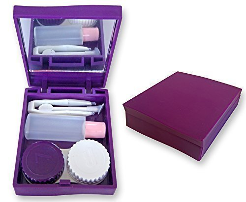 Coloured Contact Lenses Uk (Dental Aesthetics UK Contact Lens Travel Kit Case (Purple) Mirror Tweezers & Solution Storage Set For Lenses)