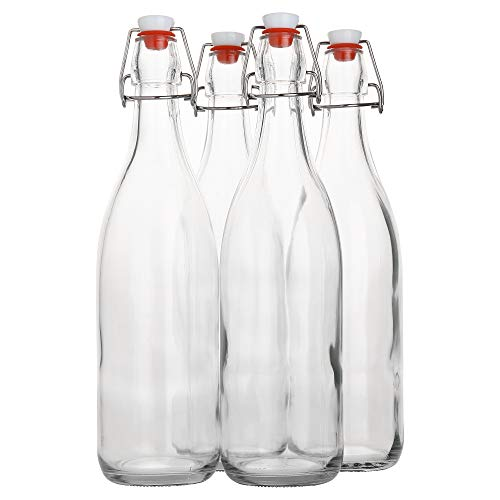 Flip Top Glass Bottle [1 Liter / 33 fl. oz.] [Pack of 4] - Swing Top Brewing Bottle with Stopper for Beverages, Oil, Vinegar, Kombucha, Beer, Water, Soda, Kefir - Airtight Lid & Leak Proof Cap - Clear