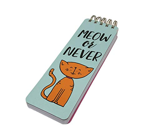 Meow or Never Cute Orange Cat Top Spiral Bound Lined Novelty Note Pad - Spiral Cat