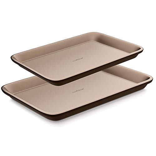 Nutrichef Nonstick Cookie Sheet Baking Pan | 2pc Large and Medium Metal Oven Baking Tray – Professional Quality Kitchen…