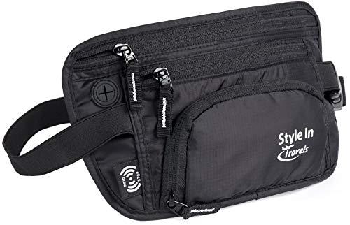 Travel Money Belt & Fanny Pack – RFID Blocking Wallet, Belt Bag, Bottle Holder (Black)
