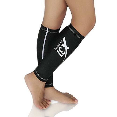 X31 Sports Compression Calf Sleeve Shin Splint Leg Warmer for Running Nurses Travel 15-20 mmhg (Black, Medium)]()