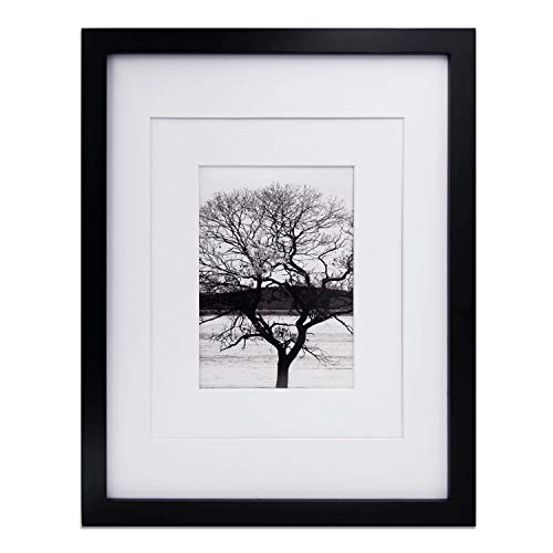 Egofine 11x14 Picture Frames Black - Photo Frame Made of Solid Wood for Table Top Display Pictures 5x7/8x10 with Mat or 10.5x15 Without Mat - with Wall Mounting Hardware