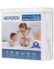 HEPERON Queen Size 100% Waterproof Mattress Protector- Terry Surface Mattress Pad Cover -Deep Pocket Fits Mattress 8-21 Inches Thick- Hypoallergenic,Breathable,Vinyl Free