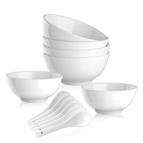 22 OZ Porcelain Cereal / Soup Bowl Set Dinnerware Bowls for Entree, Oatmeal ,Pasta, Stews,Noodle,Salad - Set of 6 Bowls and 6 Spoons , White, Lead and Cadmium Free