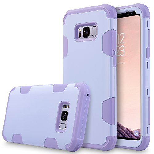 UrbanDrama Case for Galaxy S8 Plus, S8+ 3 in 1 Drop-Protection Hybrid Impact Heavy Duty Rugged Shockproof Bumper Anti Slip Full Body Protective Case for Samsung Galaxy S8 Plus 6.2, Purple