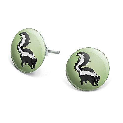 GRAPHICS & MORE Skunk Posing Novelty Silver Plated Stud Earrings ()
