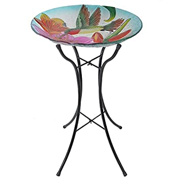 Peaktop Outdoor 18-Inch Hummingbird Fusion Glass Bird Bath w/Metal Stand - Pink and Green