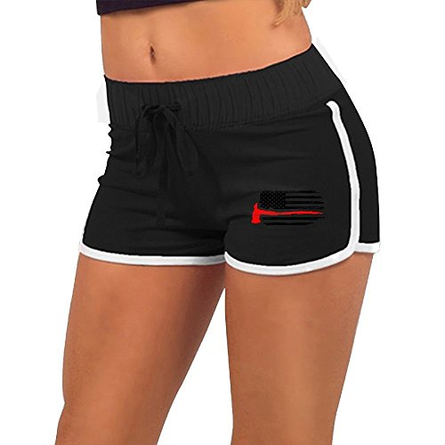 Firefighter Thin Red Line American Flag Womens Running Workout Shorts Athletic Elastic Waist Hot Pants ()