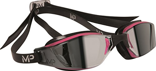 MP Michael Phelps Women's XCEED Swimming Goggles, Mirrored Lens, Pink/Black Frame