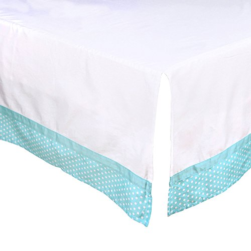 White Tailored Crib Dust Ruffle with Teal Blue Dot Trim by The Peanut Shell