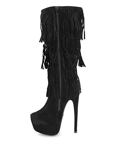 rivenditore online 0e9b8 2de17 Alexoo scarpe da donna Stivali al ginocchio con frange Mimas ...