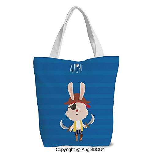 Women lightweight Canvas Shoulder School Bags Pretty Pirate Rabbit Bunny with Ey -