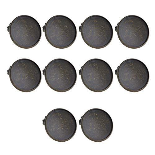 SM SunniMix Pack of 10 Antique Bronze Brooch Making Blank Cabochon Bezel Setting Trays Pin Back Brooch Findings DIY Base Clip 20mm for Crafts Jewelry Making
