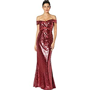 Marina Womens Sequined Off The Shoulder Gown