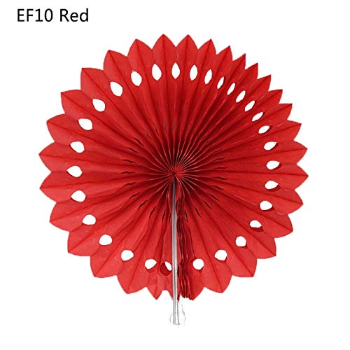 VDV Artificial Flowers 5pcs 8'' 20cm Tissue Paper Cut-Out Paper Fans Pinwheels Hanging Flower Paper Crafts for Showers Wedding Party Birthday Festival Daisy Artificial Flowers-EF10 Red