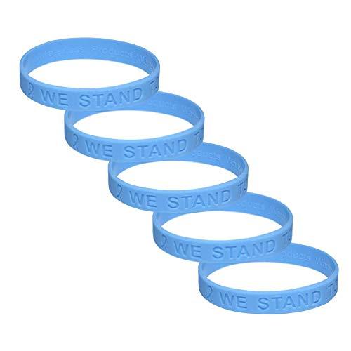 (Light Blue Ribbon Awareness Silicone Bracelet 5 Pack)