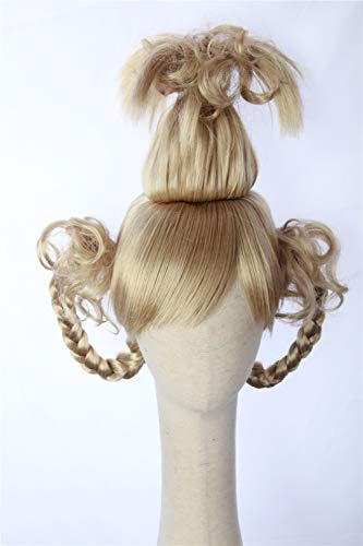 Cosplaywigscom: Cindy Lou Who Wig Inspired of How the Grinch Stole Christmas! Braided Pigtails Prestyled Spiky Wig for Girls and Teens (Plantinum Blonde)]()