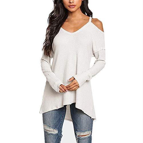 Donna Moda T-Shirt Camicia Manica Lunga Tops V-Collo Shirt off Shoulder Blouse Bianco