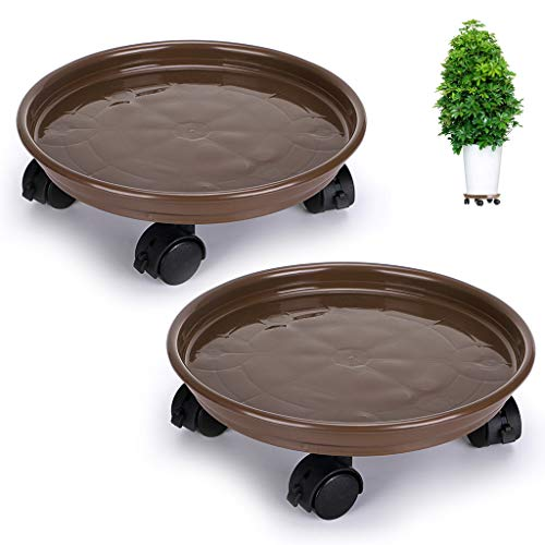 (Skelang Pack of 2 Plant Pallet Caddy Plant Stand Plant Pot with Lock Wheels Round Flower Pot,Planter Trolley Casters Rolling Tray Coaster, Moving Plant Pot Saucer)