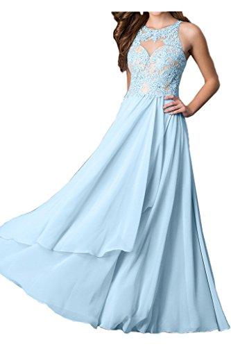 ivyd ressing robe populaire A ligne mousseline et pointe de Robe Longue rueckenfrei Prom Party Soirée Robe -  Bleu - 36