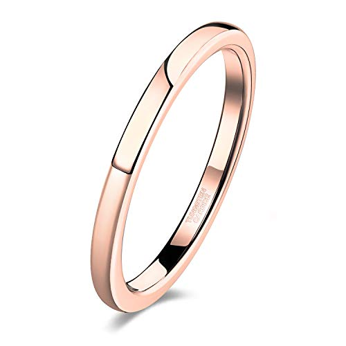 - Shuremaster 2mm Women Tungsten Rose Gold Wedding Band Ring Thin Plain High Polish Comfort Fit Size 7.5
