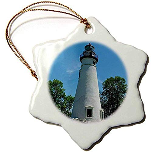 Cheyan Marblehead Lighthouse Looking Over Lake Erie-Snowflake Ornament, Porcelain, ()