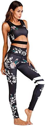 レディースジャージ上下セット スキニースポーツフィットネスランニングダンスセット女性プリントヨガセット (サイズ : L)