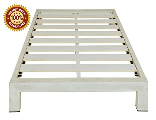 (In Style Furnishings Stella Modern Metal Low Profile Thick Slats Support Platform Bed Frame - Twin Size, Brushed White)
