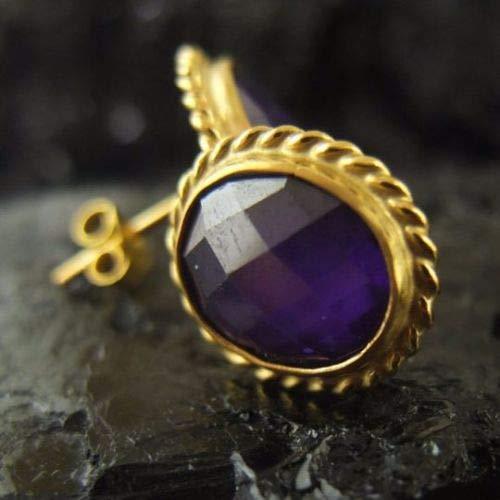Ancient Design Jewelry Handmade Designer Amethyst Stud Earring 22K Gold over 925K Sterling Silver