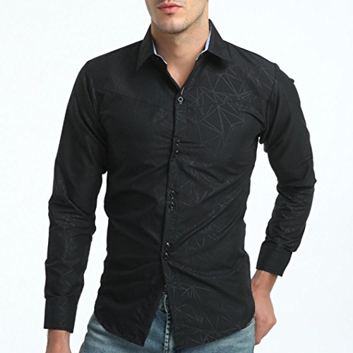 OWMEOT Mens Trendy Slim Fit Two-Toned Checkered Longsleeve Shirt (Black, L) by OWMEOT