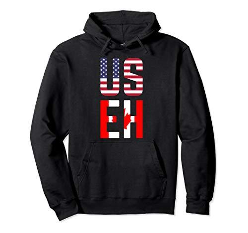 - USEH America Canada Flag Hoodie Funny American Canadian
