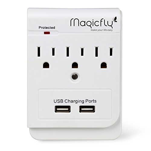 Magicfly Power 3 AC Outlet Socket Wall Mount Surge Protector with Dual USB Charging Port Wall Charger 2.1A (Screw Included)