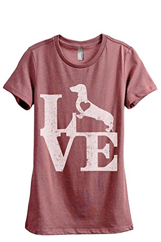 Crew T-shirt Relaxed Love (Love Dachshund Dog Women's Fashion Relaxed T-Shirt Tee Heather Rouge 2X-Large)