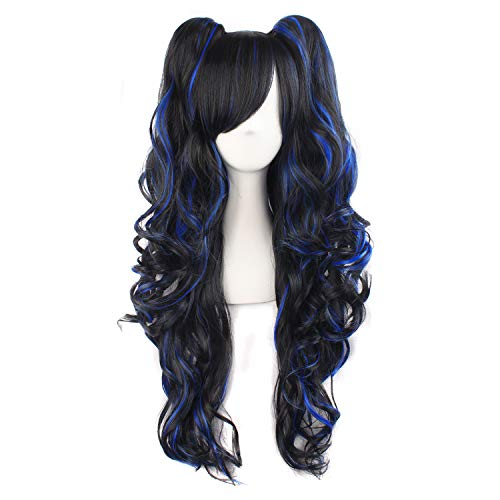 MapofBeauty Multi-color Lolita Long Curly Clip on Ponytails Cosplay Wig (Black/Blue)