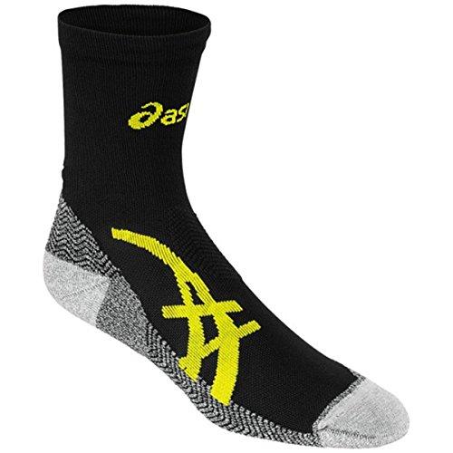 ASICS Fujitrail Mini Crew Socks, Performance Black/Electric Lime, Large ()