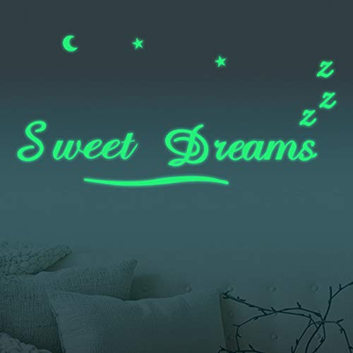 Homics Nursery Wall Decals Luminous Words Sticker at Night - Sweet Dreams - Words Glow in The Dark