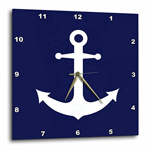 3dRose dpp_165798_3 Navy Blue and White Nautical Anchor Design-Wall Clock, 15 by - Navy Mirror